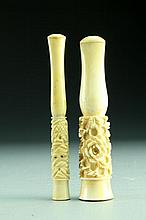 (2) Chinese Carved Bone and Ivory Cigarette Holders
