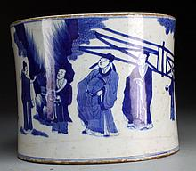 Chinese Blue & White Porcelain Brush Pot
