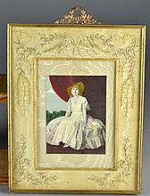 A Fine Victorian Gilt and Embroidered Silk Frame & Photo