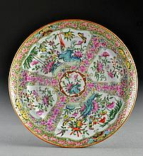 Chinese Export Porcelain Rose Canton Dinner Plate
