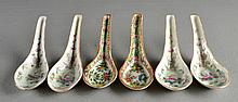 (6) Chinese Porcelain Rose Medallion Spoons