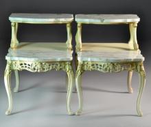 Pr. French Provincial Style Marble & Gilt Wood End Tables