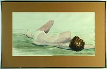Ward Mann Nude Watercolor Painting on Paper