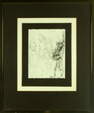 A Framed Black and White Etching on Paper