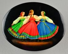 A Finely Painted Russian Lacquered Box