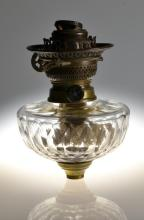 An Antique Glass & Brass Mounted Oil Lamp