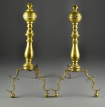 Pr. 18th Century American or Continental Brass Andirons