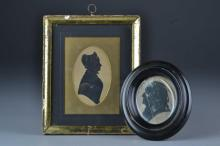 (2) Antique American School Silhouettes