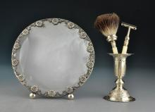 (4) Sterling & Silver Plate Shaving Set & Mirror