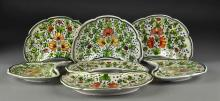 (7) Italian Faience Hand Painted Bone Dishes