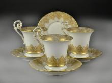 (7) Pcs Limoges Gilt Porcelain Cups & Saucers