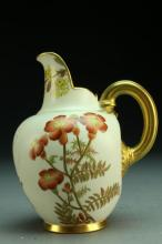 A 19th c. Royal Worcester Porcelain and Gilt Pitcher