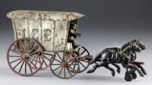 Antique Cast Iron Horse Drawn Ice Wagon Possibly Hubley