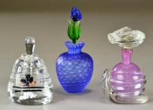 (3) Art Glass Perfume Bottles - signed Tamaian