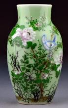 Chinese Famille Rose Over Celedon Porcelain Vase
