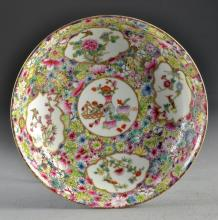 Chinese Qing Rose Medallion Porcelain Bowl