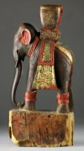 Antique Thai Carved & Painted Wood Elephant