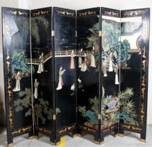 Chinese Polychromed Carved Lacquered Screen