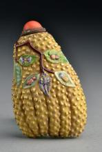 An Unusual Chinese Enameled Porcelain Snuff Bottle