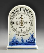 German Blue and White Porcelain Egg Timer Clock