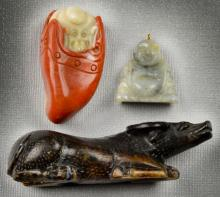 (3) Chinese Qing Carved Hardstone Including Jade