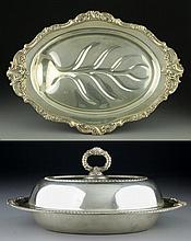 (2) Silver Plate Covered Serving Dish & Plate