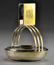 A Cross London Silver Plate & Glass Ashtray