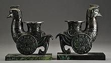 Pr. Chinese Phoenix Form Bookends/Ashtrays