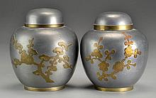 Pr. Chinese Pewter & Copper Tea Caddies