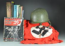 (11) WW2 Helmet, Nazi Flag, Books, & Magazines