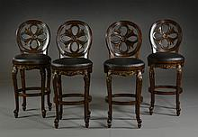 (4) Carved Wood and Leather? Bar Stools