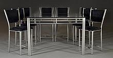 (9) Pc Brushed Metal & Glass Dining Set