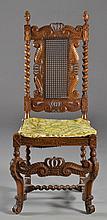 An Italian Carved Oak & Cane Side Chair