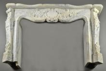 French Louis XV Style Carved Marble Mantle