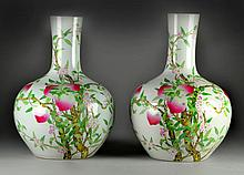 Pr. Of Large  Finely Painted Chinese Peach Vases