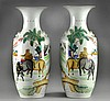 Pr. Large Chinese Famille Rose Porcelain Vases