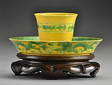 Chinese Green & Yellow Cup & Fitted Saucer