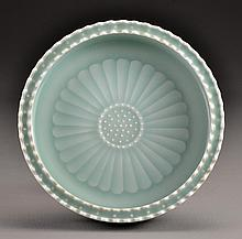 Chinese Light Celedon Molded Porcelain Brushwash