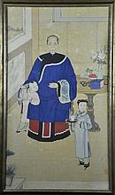 Chinese Qing Watercolor Ancestral Portrait