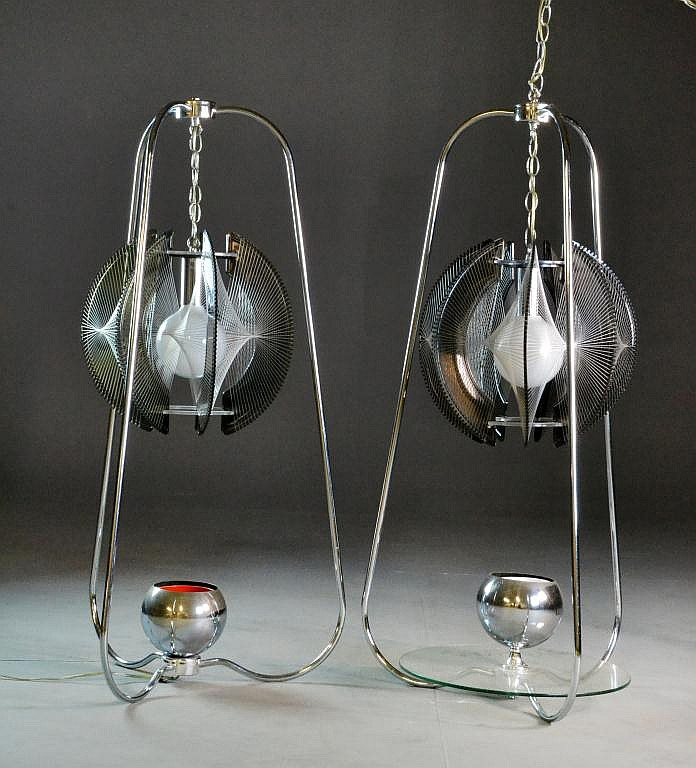 (2) Mid-Century Modern Lucite & Chrome Lamps