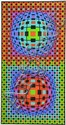 Victor Vasarely Framed Geometrical Serigraph