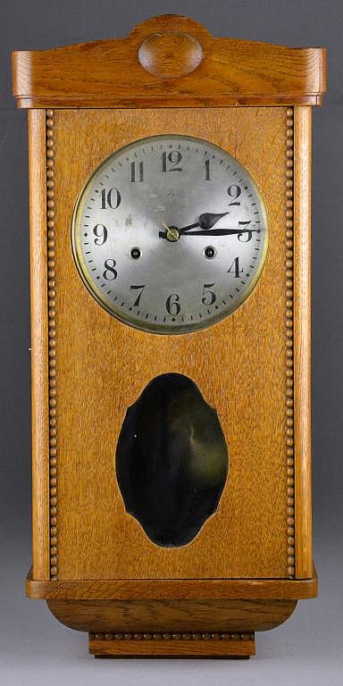 Antique Wurttemberg Oak Box-Case Wall Clock