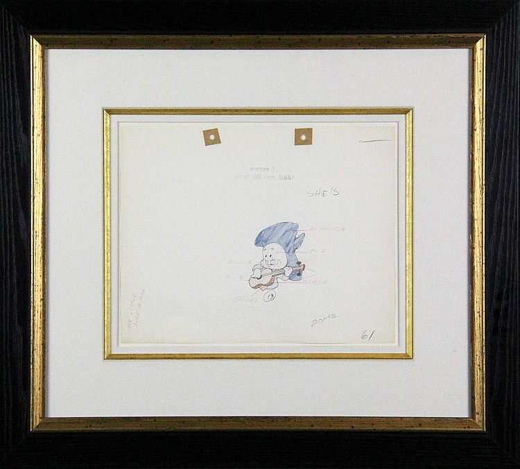 1938  Warner Bros. Original Porky Pig Drawing