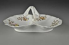Hand Painted Porcelain & Gilt Serving Dish