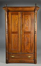 Antique Carved Wood Eastlake Wardrobe