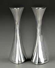 Pr Nambe Polished Aluminum Candlesticks