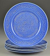 (6) Paden City Pottery Blue Willow Dinner Plates