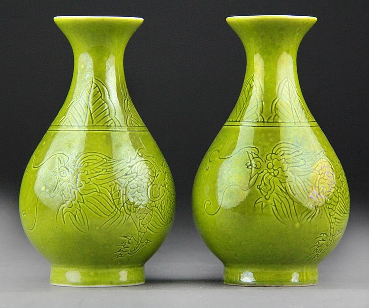 Pair Chinese Lime Green Glazed Vases