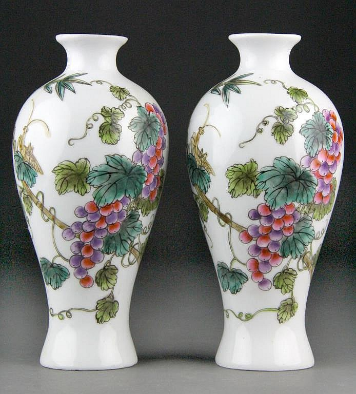 Pair Chinese Famille Rose Porcelain Vases with Grapes