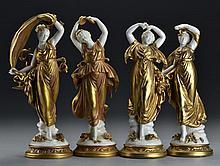 (4) German Volkstedt Porcelain Figurines